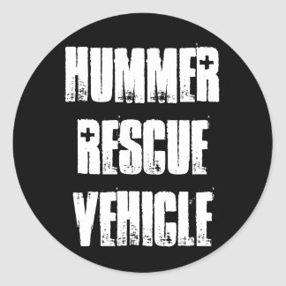 Hummer Rescue Vehicle Classic Round Sticker