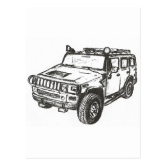 Hummer Truck Art Postcard