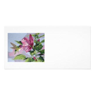 Humminbird pintado a mano tarjeta con foto personalizada
