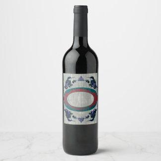 Humminbirds Mandala Oval Wine Label