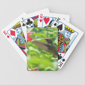 Humming Bird and a red flower Bicycle Playing Cards