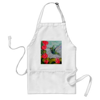 Humming Bird And Red Flowers Adult Apron