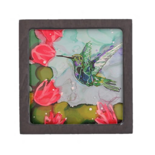 Humming Bird And Red Flowers Premium Trinket Boxes