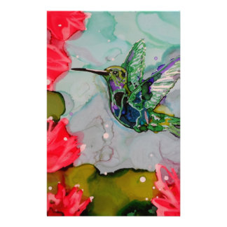 Humming Bird And Red Flowers Personalized Stationery
