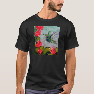 Humming Bird And Red Flowers T-Shirt