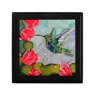 Humming Bird And Red Flowers Trinket Box