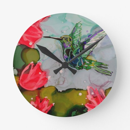 Humming Bird And Red Flowers Wall Clocks