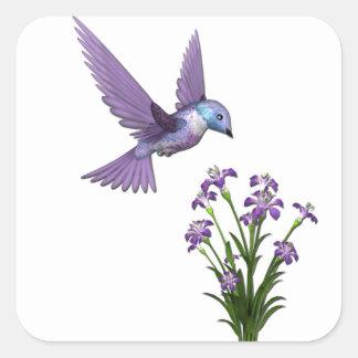 Humming Bird Flower customize Square Sticker