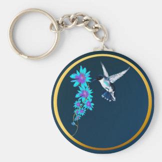 Humming Bird In Blue Keychain