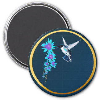 Humming Bird In Blue Magnet