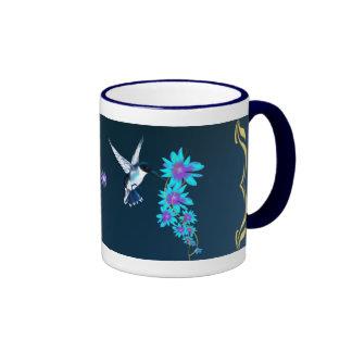 Humming Bird In Blue Mug