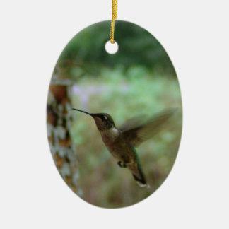 Humming bird in motion ceramic ornament