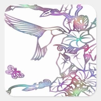 Humming Bird Square Sticker