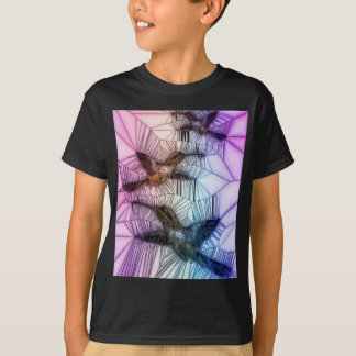 Humming Bird Stained Glass Design T-Shirt