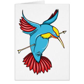 Humming Bird ~ Vintage Forties Tattoo Bird Art Card