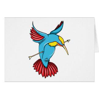 Humming Bird ~ Vintage Forties Tattoo Bird Art Greeting Card