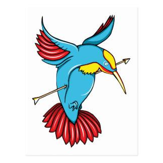 Humming Bird ~ Vintage Forties Tattoo Bird Art Postcard
