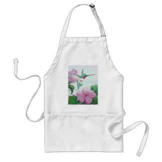 Humming bird wild pink flower hibiscus adult apron