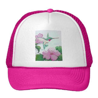 Humming bird wild pink flower hibiscus trucker hat