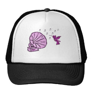 Humming bird with music notes trucker hat