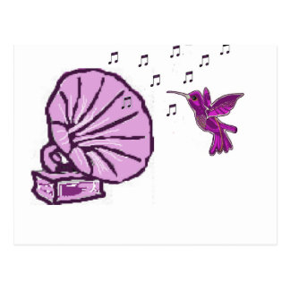 Humming bird with music notes postcard
