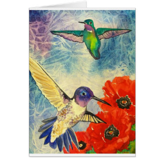 Humming Birds and Poppies Card