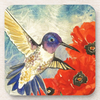 Humming Birds and Poppies Coaster