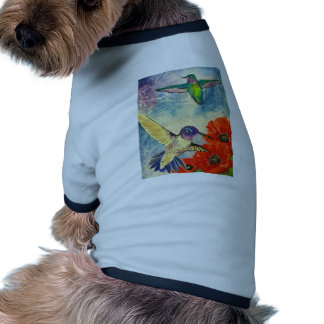 Humming Birds and Poppies Dog T-shirt