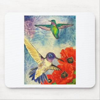 Humming Birds and Poppies Mouse Pad