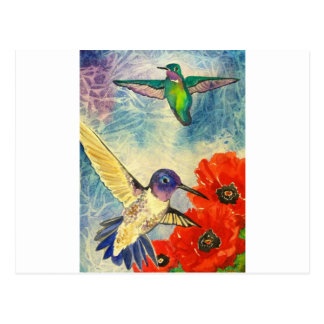 Humming Birds and Poppies Postcard