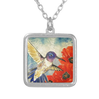 Humming Birds and Poppies Silver Plated Necklace