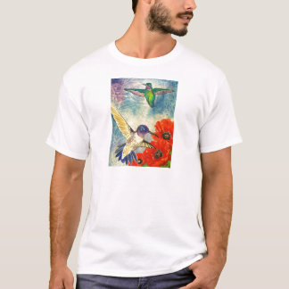 Humming Birds and Poppies T-Shirt
