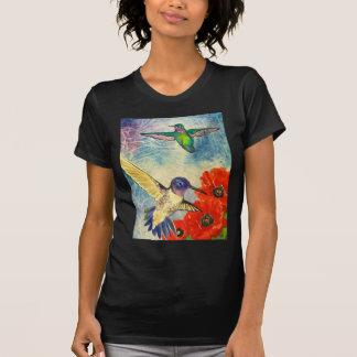 Humming Birds and Poppies T Shirt