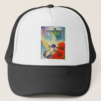 Humming Birds and Poppies Trucker Hat
