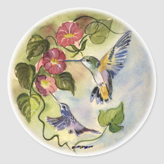 Humming Birds Classic Round Sticker