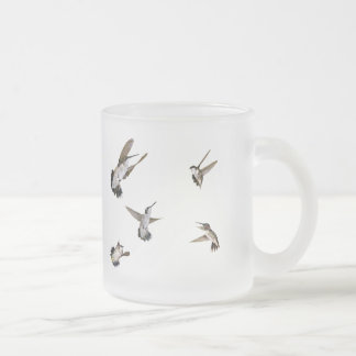 Humming Birds Frosted Glass Coffee Mug