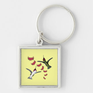 Humming Birds Grunge Hearts with Wings Keychain