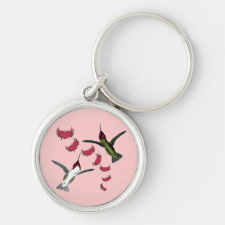 Humming Birds Grunge Hearts with Wings Key Chains