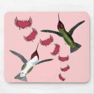 Humming Birds Grunge Hearts with Wings Mouse Pad