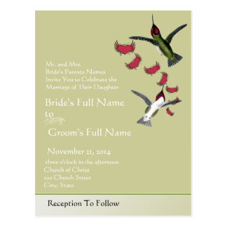 Humming Birds Grunge Hearts with Wings Post Cards