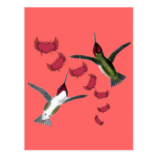 Humming Birds Grunge Hearts with Wings Postcard