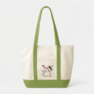 Humming Birds Grunge Hearts with Wings Tote Bag