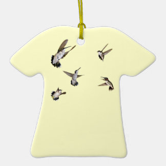 Humming Birds Double-Sided T-Shirt Ceramic Christmas Ornament