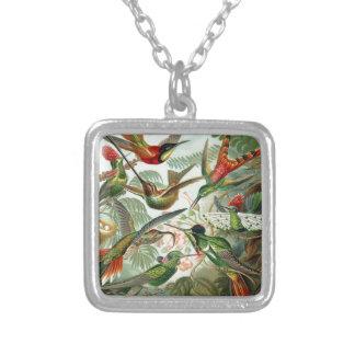 Humming Birds Paradise art Square Pendant Necklace