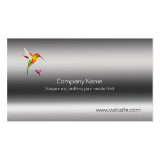 Humming Birds, stylized on metallic-style template Business Card