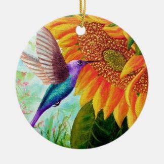 Humming For Nectar Ceramic Ornament