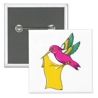 Hummingbird 3 ~ Vintage Forties Tattoo Bird Art Buttons