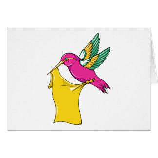 Hummingbird 3 ~ Vintage Forties Tattoo Bird Art Greeting Card