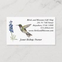 Hummingbird and Bluebonnet Business Card