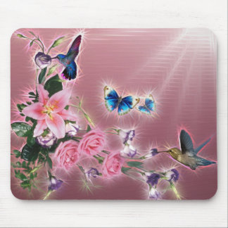 Hummingbird and Butterflies Mouse Pad